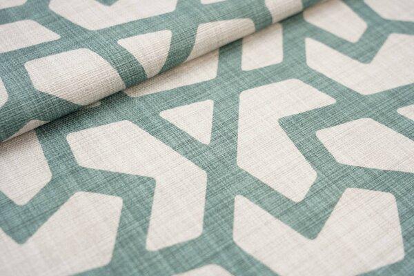 Canvas-Stoff Dekostoff großes geometrisches Muster hell beige / altgrün