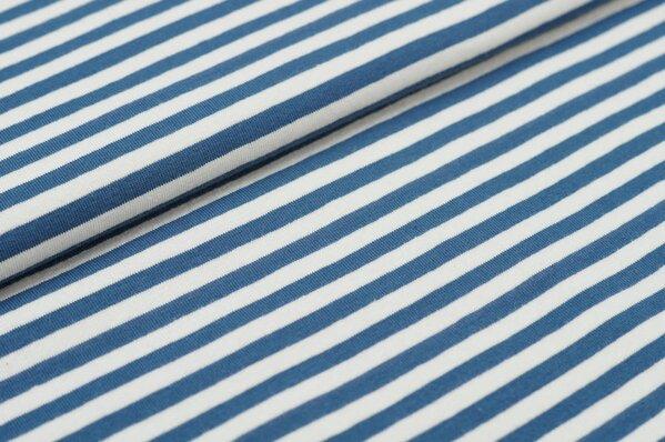 XXL Baumwolljersey Marie Streifen Ringel schmal taupeblau und off white