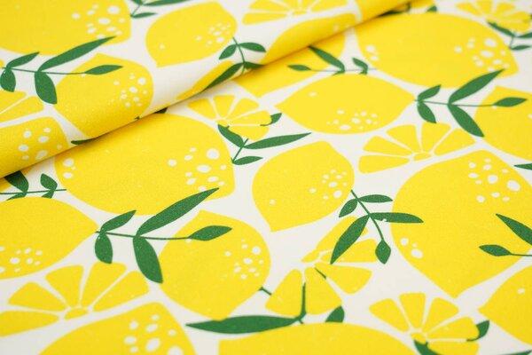 Baumwoll-Jersey Digitaldruck große Zitronen Zitronenscheiben und grüne Blätter