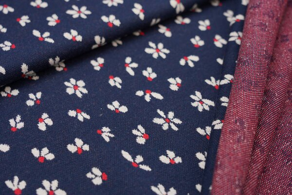 Jacquard-Sweat Ben mit kleinen Blümchen navy blau / off white / rot Blumen