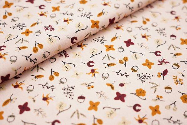 Baumwolle Blätter Blumen Zweige Eicheln auf lachsrosa