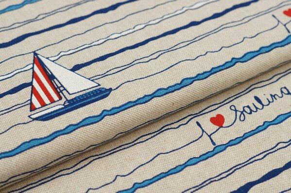Canvas-Stoff Dekostoff in Leinenoptik maritim Wellen Boote natur / blau / rot
