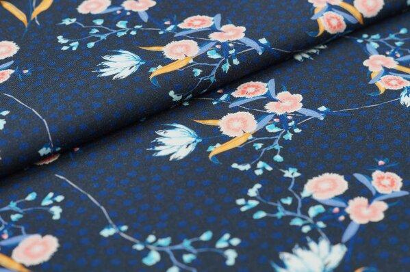 Baumwoll-Jersey Digitaldruck Blumen und Punkte auf sehr dunkelblau