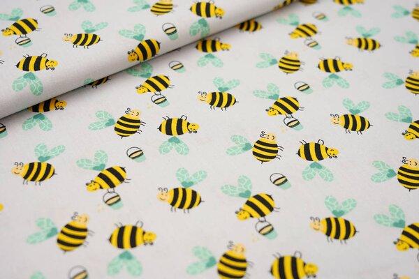 Baumwollstoff mit Bienen und Honigeimern auf hellgrau