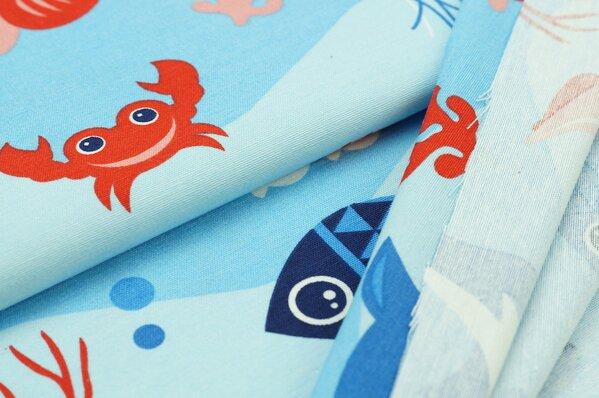 Dekostoff Fische Krebs Wasser Meer blau