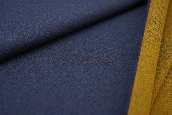 XXL Baumwollsweat Maya uni navy blau melange mit senf Rückseite