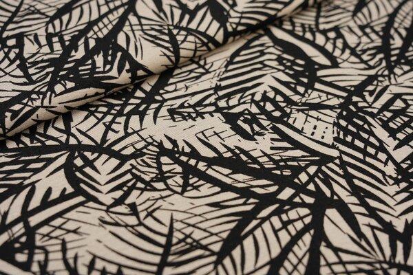 Viskose-Jersey Farne Blätter beige / schwarz