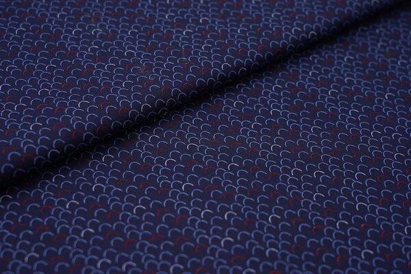 Baumwolle maritimes Schuppen Muster dunkelblau / blau / rot
