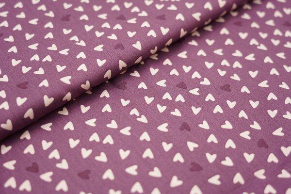 Baumwolle Herzen in dunkellila und lachs auf lila