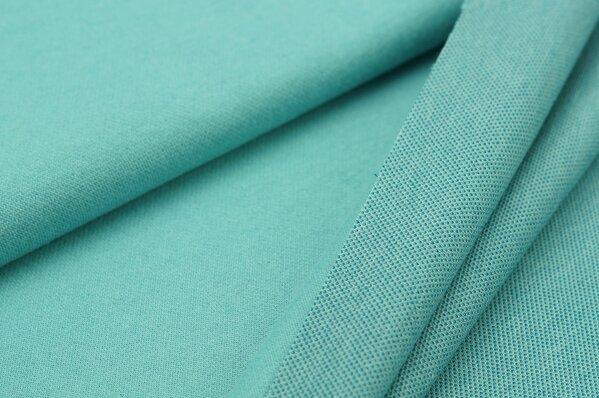 Jacquard-Sweat Ben eisblau Uni mit eisblau, petrol und off white Rückseite