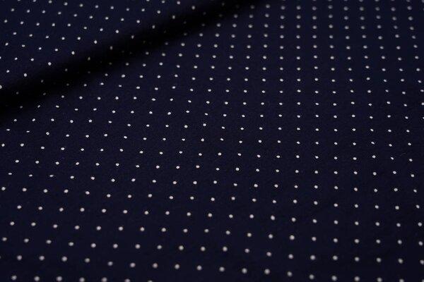 Viskose-Jersey kleine Punkte dunkelblau / weiß