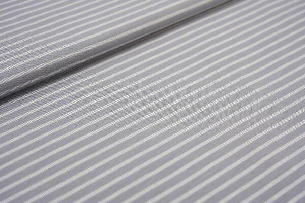 Baumwoll-Jersey mit gestrichelten Streifen silbergrau / weiß