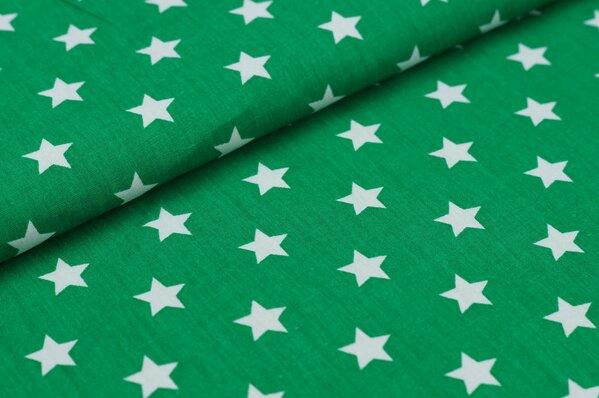 Baumwollstoff Baumwolle große Sterne dunkelgrün / weiß