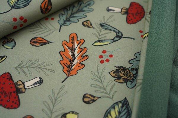 Softshell-Stoff Herbstblätter Pilze Eicheln Ahorn Beeren auf altgrün