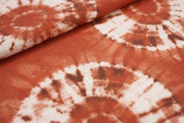 Canvas-Stoff Dekostoff Retro Kreise Batik Optik rotbraun / hell beige