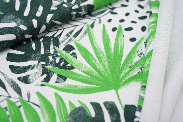 Baumwoll-Sweat Digitaldruck Farne Blätter Punkte weiß / dunkelgrün / apfelgrün
