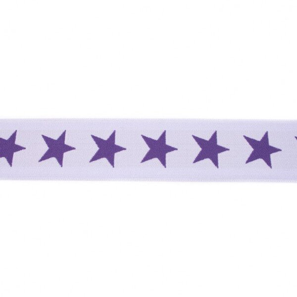 Breites Gummiband 40 mm Sterne flieder lila / dunkel lila