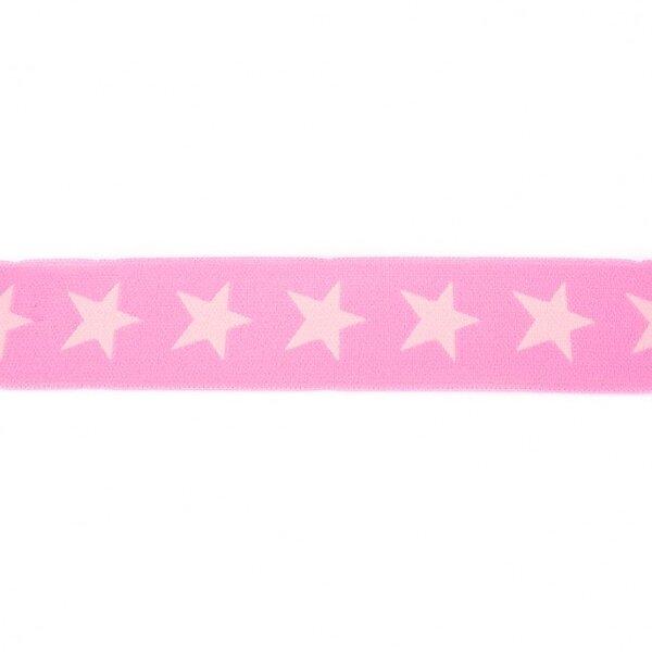 Breites Gummiband 40 mm Sterne rosa / hell rosa