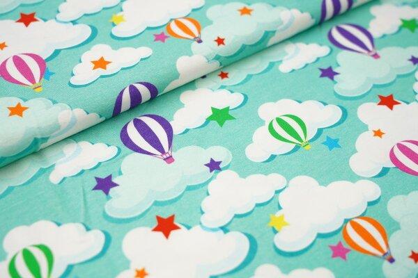Baumwoll-Jersey mit bunten Heißluftballons Sterne und Wolken auf mint