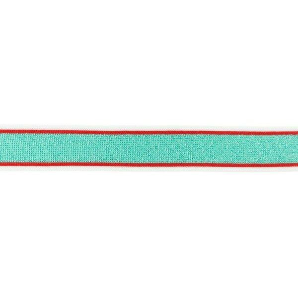 Glitzerband mit Streifen mint rot weiß Zierband 25 mm