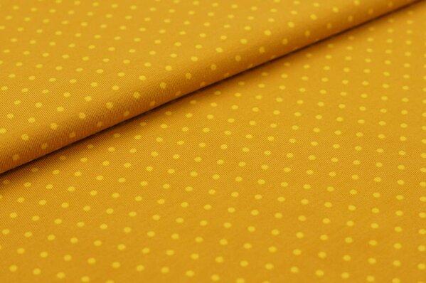 Baumwoll-Jersey kleine senfgelbe Punkte auf rostsenf