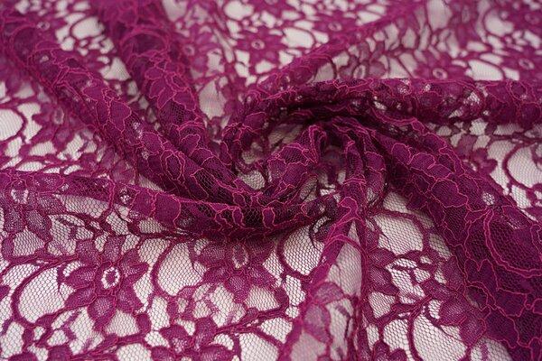 Elastische Spitze mit Blumen-Muster bordeaux violett