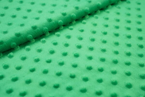 Minky Bubble Fleece Noppen Punkte uni grün