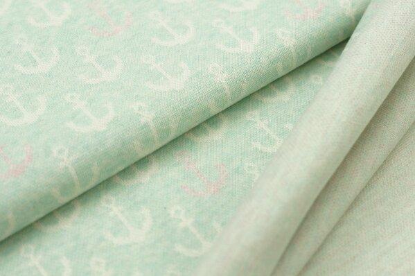 Jacquard-Sweat Mia off white und pastell rosa Anker auf pastell mint Melange
