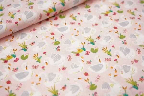 Baumwollstoff Schwan Schwäne Schilf Blumen Schmetterlinge auf rosa