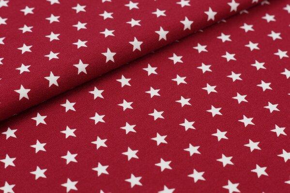 Baumwoll-Jersey kleine Sterne bordeaux rot / weiß