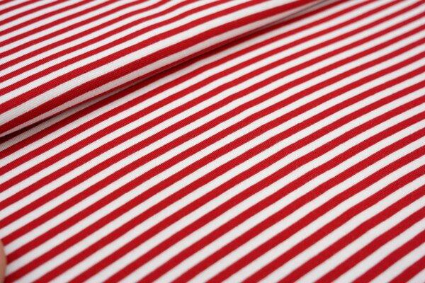 Glattes Ringelbündchen Streifen rot / weiß 5 mm