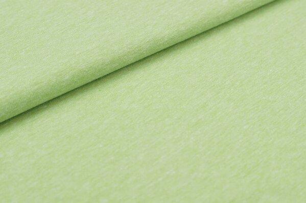Baumwoll-Jersey uni hellgrün meliert