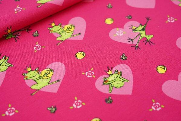 Baumwoll-Jersey Froschkönig mit Herzen Blumen und Biene auf pink