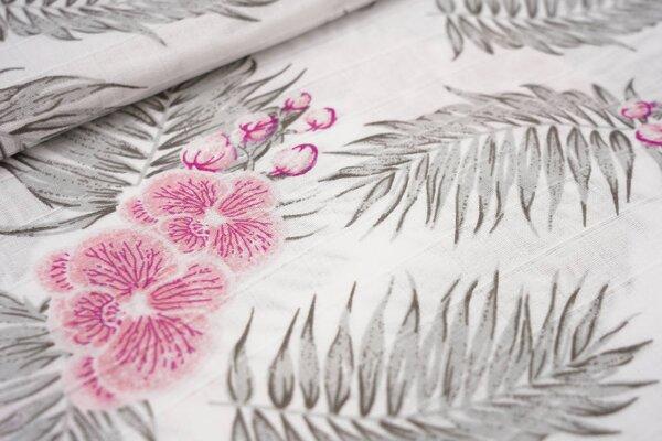 Musselin Stoff Double Gauze Karo mit großen Blumen und Farnen weiß / grau / rosa