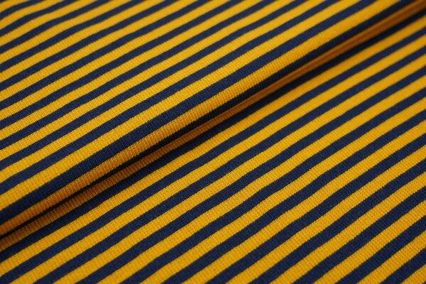 Ringelbündchen Marie gerippt navy blau / senf Streifen