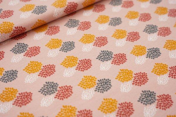 Baumwoll-Jersey Feuerwerk pastell rosa / senf / weiß / rotbraun / dunkelgrau