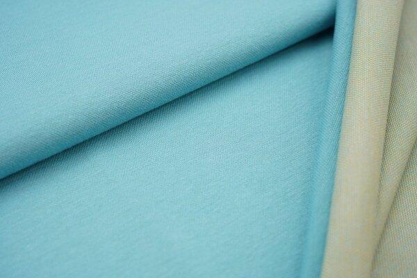 Jacquard-Sweat Ben eisblau Uni mit eisblau senf und off white Rückseite