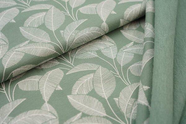 Kuscheliger Baumwoll-Sweat weiße Blätter auf altgrün