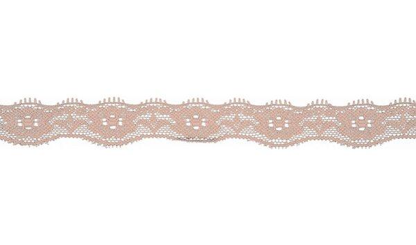 Elastische Spitze mit Blumen uni puderrosa 20 mm Spitzenborte Zierband