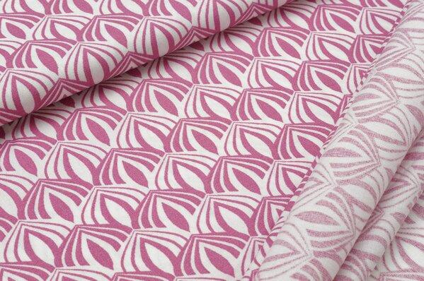 Baumwollstoff Zwiebel Ornament, rosa auf weiß