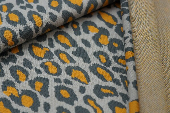 Jacquard-Sweat Ben mit Leoparden Design dunkelgrau / hellgrau / senf