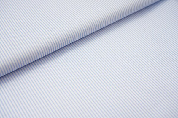 Baumwollstoff Ringel Streifen schmal hellblau / weiß