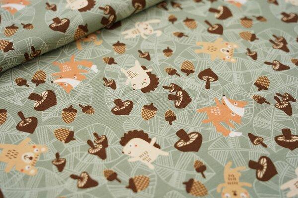 Baumwoll-Jersey Tiere Eicheln Blätter und Pilze auf altgrün Fuchs Igel Hase Bär