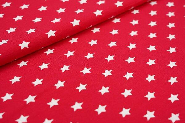 Baumwoll-Jerseystoff weiße Sterne auf rot
