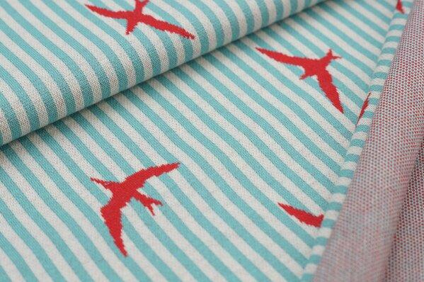 Jacquard-Sweat mit Schwalben Vögel auf Streifen eisblau / off white / rot