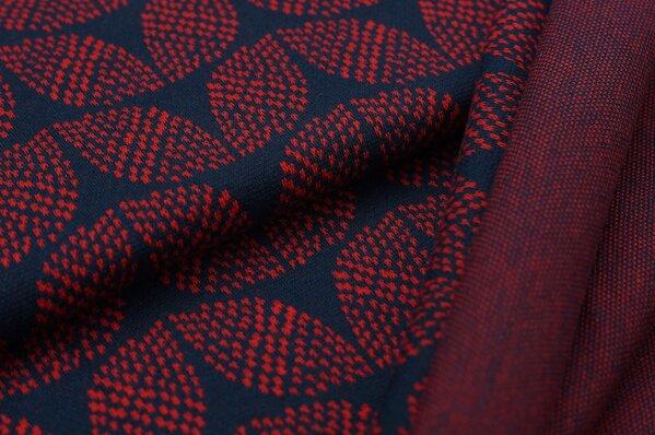 Jacquard-Sweat Ben rotes Blätter Muster auf navy blau