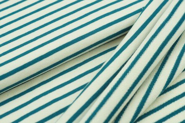 XXL Baumwoll-Sweat MARIE Streifen Ringel mittel petrol blau und creme