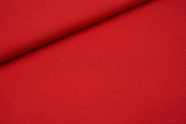 Glattes Glitzer Bündchen rot mit silber