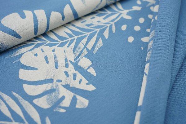 Baumwoll-Sweat Digitaldruck Farne Blätter Punkte rauchblau / creme
