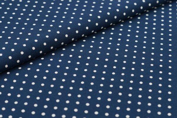 Baumwoll-Jersey kleine weiße Punkte auf navy blau